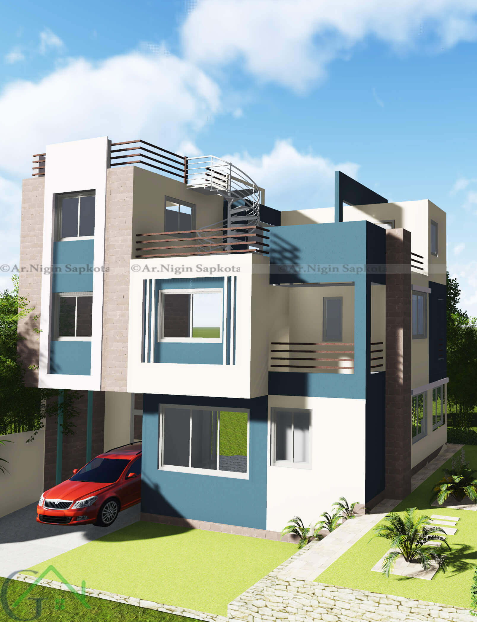 kapan-house-3d-design - G.A Builders, Kathmandu, Nepal